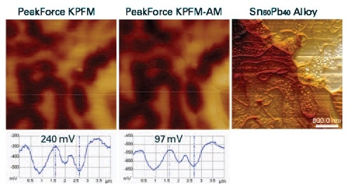 PeakForce KPFM and PeakForce KPFM-AM potential maps and cross section profile of a Sn-Pb alloy (60:40 by weight, at right is the topography (4µm scan).