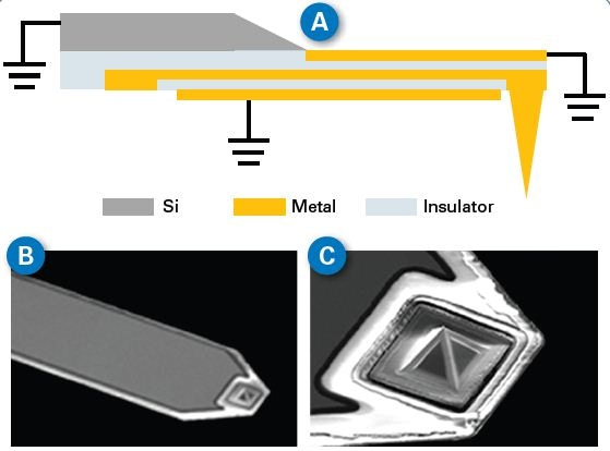environment. The central metal line transmits the microwave to the tip apex. (B) and (C) are SEM images of a typical sMIM probe.