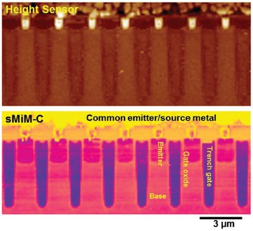 PeakForce sMIM imaging of an IGBT device. Compared to contact mode sMIM in Figure 4, clear topographic and electrical features with more nuanced details can be seen in both the rough metal and semiconductor regions. Additionally, the tip lifetime is greatly improved.
