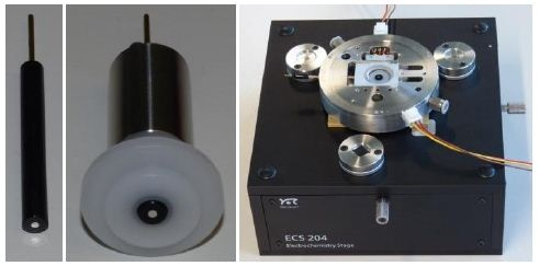 Rod-like electrode (left) mounted inside a sample holder (center) and fixed in Electrochemistry Stage ECS 204 (right).