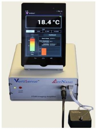The VertiSense imaging amplifier connects to the Nanosurf AFM controller and the VertiSense cantilever