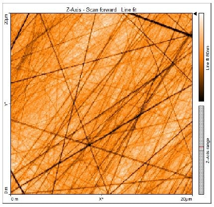 """AFM image of GC surface (topography with """"Line fit"""" filter) obtained in 0.1 M NaOH under potential control."""