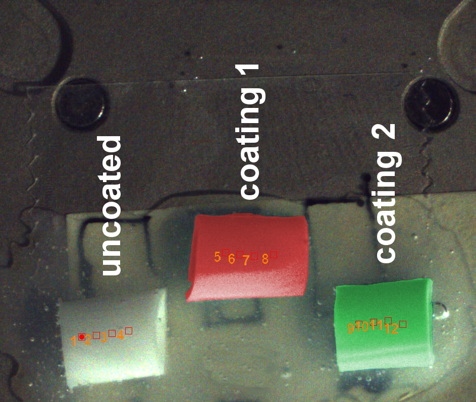 Optical sample overview image with predefined measurement locations.