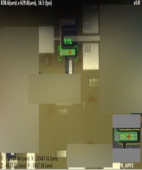 Optical camera feed from the XEA software interface displaying a 95% confidence level in the software's ability to recognize the sample pattern.
