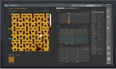 The user interface of Park SmartScan. This new AFM operation software enables novices to acquire images and data rivalling those produced by veteran users.