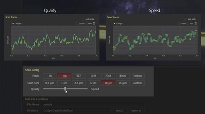 The self-optimizing Auto mode of Park SmartScan allows users to quickly emphasize either absolute image quality or scanning speed during data acquisition. The software's Manual mode allows for finer scan parameter control for more advanced operations.