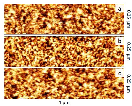 Imaging sample surface with angstrom level roughness, as it is covered with a liquid layer. The images were collected as the tip-sample interactions were a) attractive, b) repulsive, & c) attractive again.