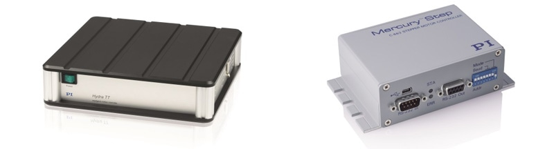 (left) SMC Hydra controller, 3000 microsteps per full step with integrated DeltaStar Eco encoder interface module (1 Vpp sin/cos input). (Image: PI miCos) (right) C-663.12 Mercury Step, compact economical controller with 2,048 microsteps. (Image: PI miCos)