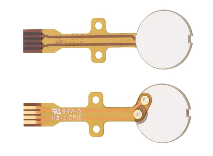 Piezo transducer discs are available with flexible PCB to facilitate integration in volume production. (Image: PI)