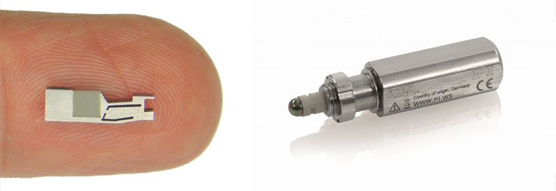 Piezo linear motors can be designed incredibly small. The inertia motor shown on the left provides provide nanometer precision and is ideal for integration into miniaturized drives and instrumentation. A miniature actuator with piezo motor is shown on the right. (Image: PI)
