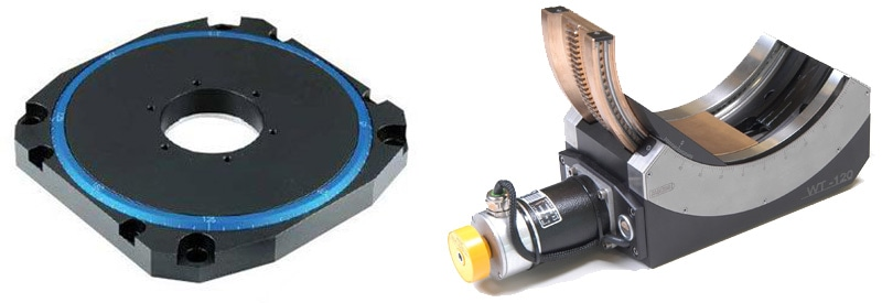 (left) U-651 low profile rotation stage based on ceramic direct-drive motors. (Image: PI) (right) High precision motorized goniometer cradle. (Image: PI miCos)