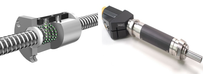 (left) Basic design of a recirculating ballscrew. (Image: THK) (right) A stepper motor driven ballscrew precision actuator, capable of sub-micrometer precise motion and high push/pull forces. (Image: PI miCos)