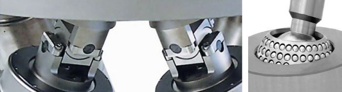 Robust Hexapod joints: (left) Cardanic joints with Z-offset provide the highest stiffness, and best orientation-independent performance but require more advanced algorithms. (right) Spherical bearings are not recommended due to their lower stiffness and directional dependency. (Image: PI)