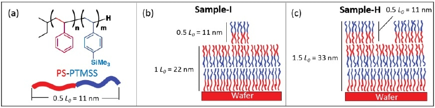 Block Co-polymer (BCP) sample description. The island and hole features (shown in (b) and (c) respectively) have a half-full pitch height/depth of 11 nm; each chemical block is only 5.5 nm thick.