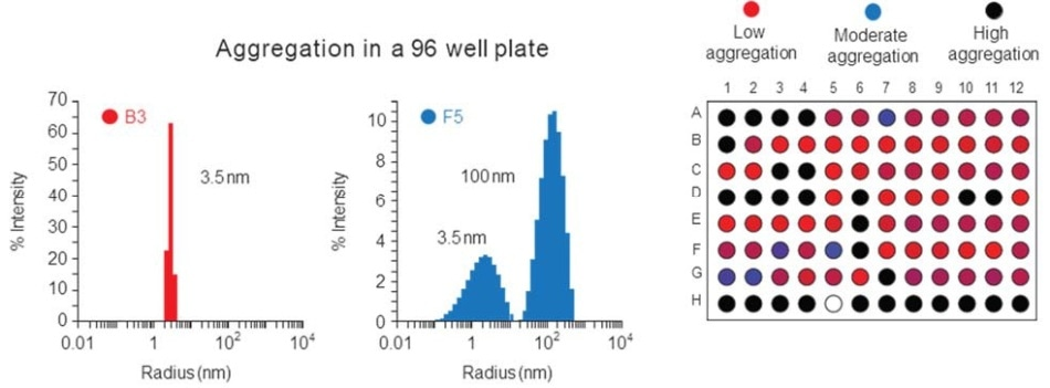 Automated screening of size and aggregation in a 96-well plate takes just 45 minutes. The results are displayed in a SpectralView heat map as well as individual size distributions. (Courtesy Sabin Inst.)