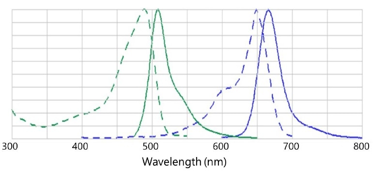 Excitation (dashed lines) and emission (unbroken lines) spectra of EGFP (green) and Cy5 (blue). EGFP is not excited by radiation of wavelength longer than about 550 nm, while Cy5 is not excited by wavelengths beyond 700 nm. 532-nm excitation of Cy5 would exhibit low fluorescent intensity and a large Stokes shift while 660-nm excitation would exhibit high fluorescent intensity and a negligible Stokes shift.