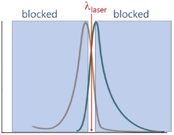 Fluorescence-blocking filters transmit only a narrow band of wavelengths centered on the laser wavelength?exc.