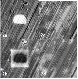Contamination artifacts on the surface of the aluminum stub