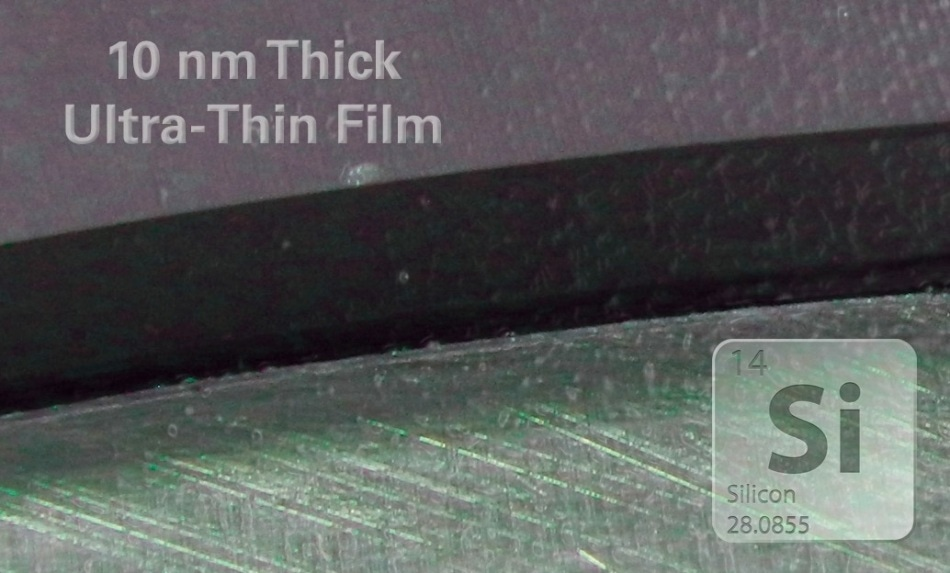 Sample diagram of a 10 nm thick ultra-thin film on a silicon substrate.