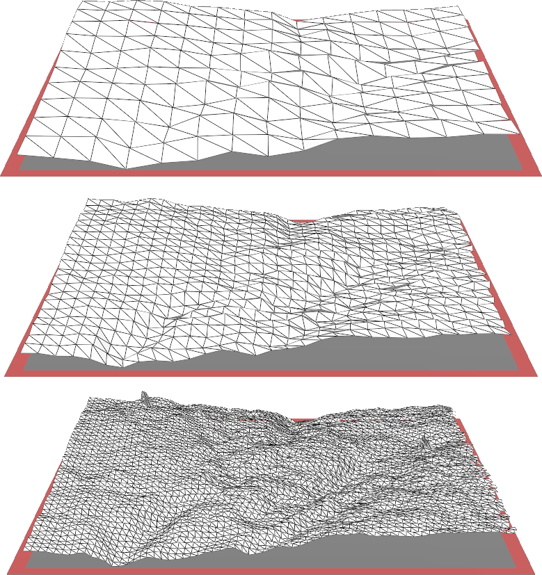 Three tiling exercises with different tile sizes.