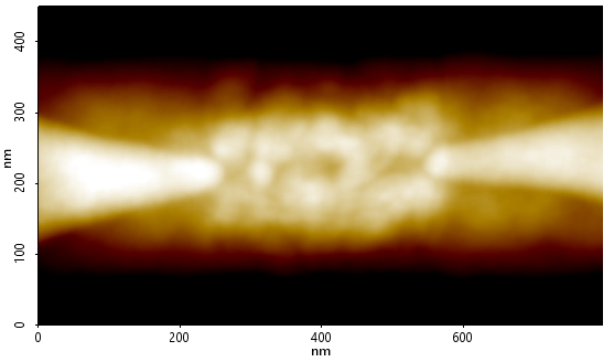 Contact mode AFM topography image of the vacuum-channel device's source-drain interface. The overlaid red line corresponds to the topography line profile displayed in Figure 2. Scan size: 450 x 800 nm.