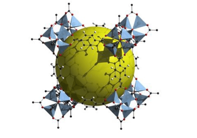 Example Metal Organic Framework (MOF). The yellow sphere represents the pore space within the crystal structure.