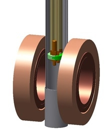 Detail of sample position and magnet coils.