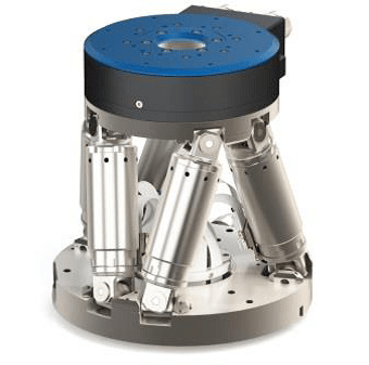 V-610 compact PIMag® torque motor rotary stage stacked on an H-811 hexapod to extend the rotation range for use in highly automated production systems