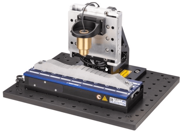 Fast autofocus demonstrator with voice coil Z axis stage and 3-phase linear motor on the X axis