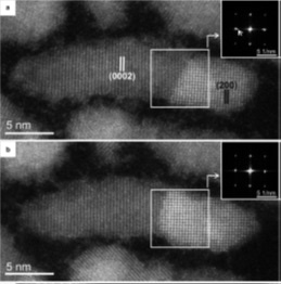 HAADF-STEM images of CdSe-PbSe HNCs at (a) 160 °C and (b) 180 °C. Hexagonal wurtzite CdSe nanorods began to change to cubic rock-salt PbSe. The insets are FTs taken from the white squares in each image.