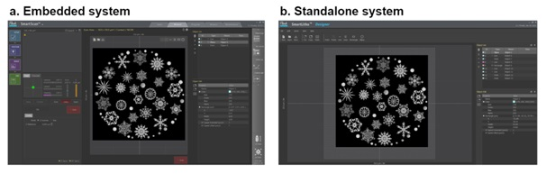 Captured images of Park SmartLitho software, (a) embedded in Park SmartScan imaging software and (b) the stand-alone version