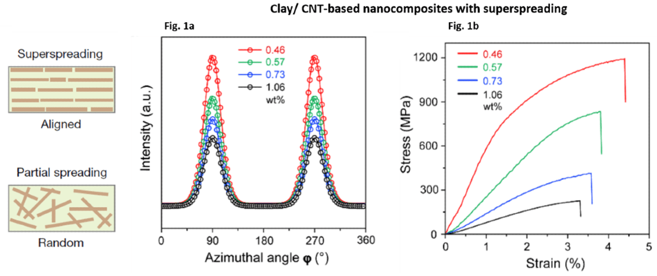 X-ray scattering measurements and mechanical properties of Clay/CNT-based nanocomposite films produced by a new method of shear-flow-induced alignment of nanosheets (superspreading). Fig 1a: 1D plots of X-ray scattering intensity depending on azimuth angle for different concentrations of nanofillers (in wt%, see key)-orientation ordered parameter and nanosheets interlayer distance can be calculated (not shown). Fig 1b: corresponding stress-strain curves for the different nanocomposites. Adapted from Zhao, C., Zhang, P., Zhou, J. et al. Layered nanocomposites by shear-flow-induced alignment of nanosheets (Supplementary Data). Nature 580, 210–215 (2020).
