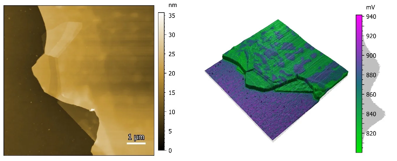 Multilayer graphene. The left image is an 8 x 8 µm2 topography image while the right image shows the 3D representation of the surface topography overlaid with the contact potential difference.