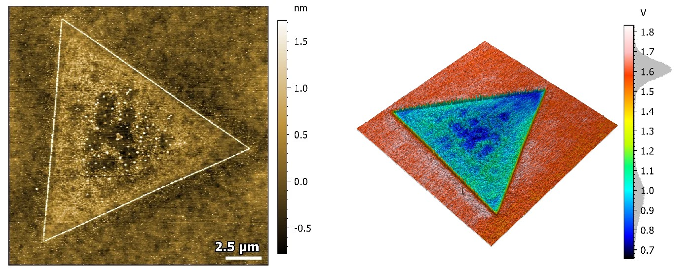MoS2 Monolayer. The left image is an 18 x 18 µm topography image while the right image shows the 3D representation of the surface topography overlaid with KPFM signal.