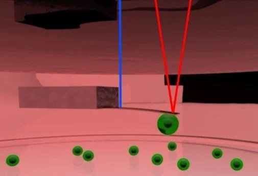 Schematic of pico-balance setup. The cantilever is made to oscillate at about 0.5 nm amplitude using an intensity-modulated laser at the base of the cantilever (Blue). Another laser focused on the free end of the cantilever (red) is used to monitor the resonance frequency of the cantilever. The mass of the cell attached to the cantilever can be derived from the resonance frequency.