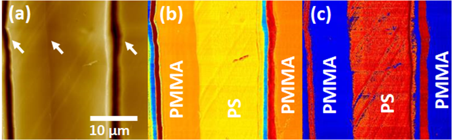 Soft IC on PS/PMMA mixture.(a) topography, (b) adhesion and (c) stiffness.