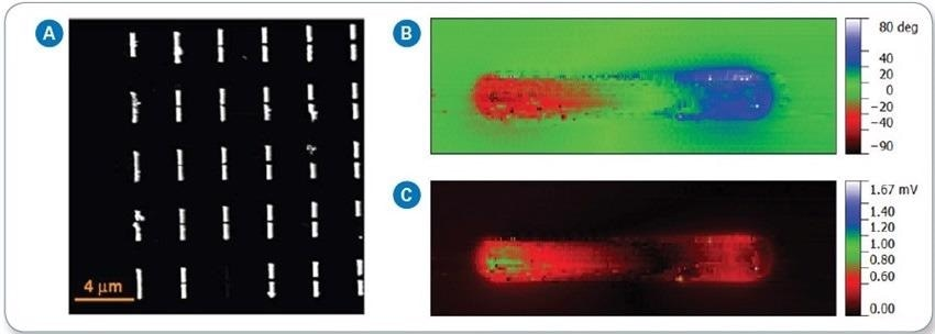 a) AFM height image of assembled antenna array, (b) s-SNOM phase, and (c) s-SNOM amplitude images of antenna dipole.