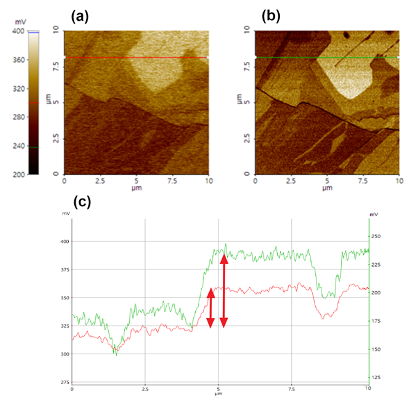 The comparison of surface potential between AM-KPFM (a) and Sideband KPFM (b) on a HOPG sample with a line profile analysis (c).