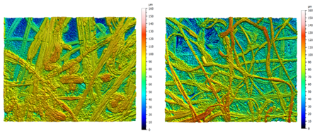 Zeta-20 images of the meltblown layer of the N95 respirator with different UVC doses: (a) 0 J/cm2, and (b) 19 J/cm2, where the decrease in average fiber width is clearly shown. Z scale is 0–160 µm for both images and field of view is 374 µm x 281 µm.