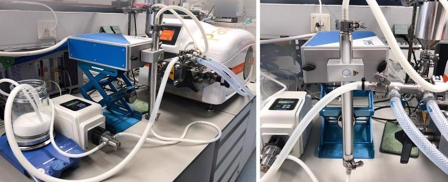 Set up for inline monitoring of the droplet size using the NFS during homogenization of the O/W emulsions.