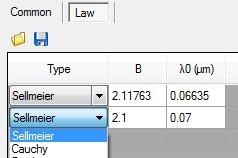 SEA software selection of dispersion law types in Structure tab.