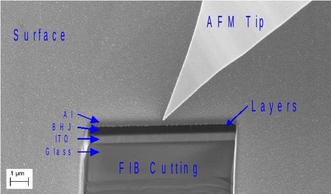 Sample after preparation by focused ion beam (FIB)