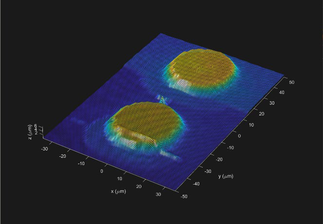 NANOSCALE APPLICATION. Our mapping workflow outputs a visual representation of the detected surface topography, such as the two contact pads displayed here.