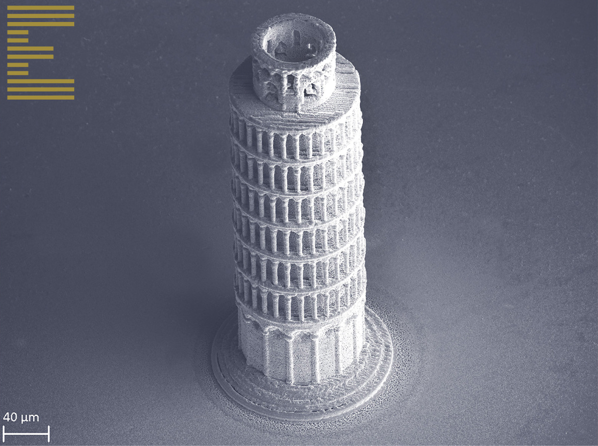 The Leaning Tower of Pisa, printed in pure copper, just 360 µm in height.