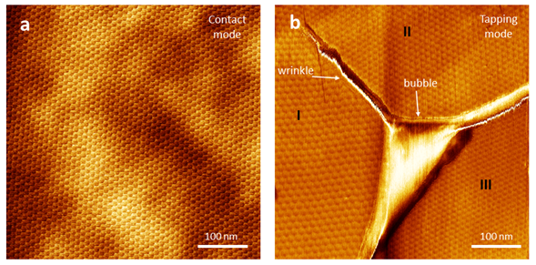 Two different areas of graphene/hBN displaying Moiré patterns. Imaged in contact (a) and tapping modes (b). Moiré pattern periodicities are 11.2 nm (a) and 14.5 nm (Ib), 12.4 nm (IIb) and 10.9 nm (IIIb).