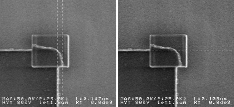 X and Y enlargement of the corner region due to contamination and drift in a CD-SEM. 800 V, 3 pA electron beam bombardment for 6 minutes.