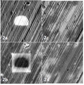 Contamination artifacts on the surface of the aluminum stub (a,b) are absent after plasma cleaning (c,d).
