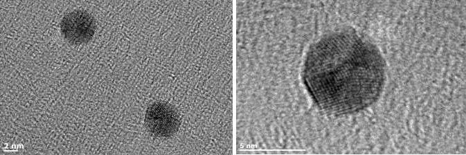 Small gold nanoparticles generated in the NL50 with diameters of 4.5nm (left) and 6.5nm (right).