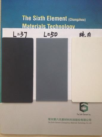 Electro-static primer – light reflection value: left carbon black, middle with 3 % SE1233, right: white colour reference.