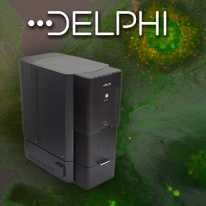The Delphi Fluorescence and Electron Microscope for Simultaneous Measurement